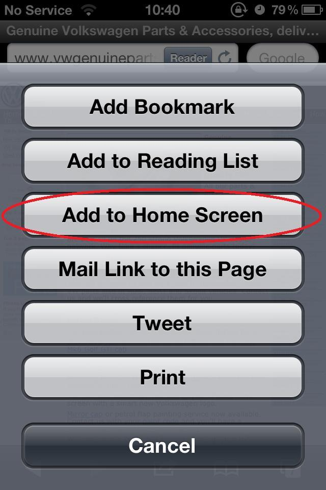<p>From the list of options select 'Add to home screen'