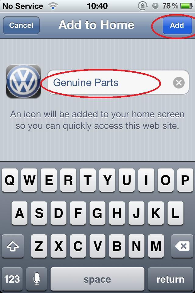 <p>Change the name to something like 'Genuine Parts' or 'VWGP'. Press 'Add' in the top right hand corner